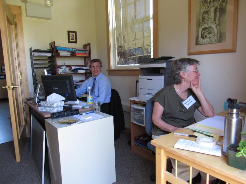 Milan Daler (left), Cfa Administrator, and his assistant MaryLyn Yonika (right) are responsible for processing applications for Foundations Studies under the watchful eye of Rudolf Steiner (above!).