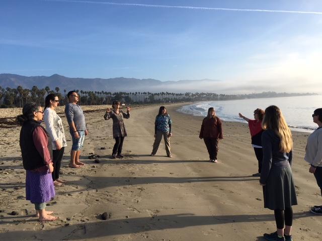 Improvising speech classes on the California beach.