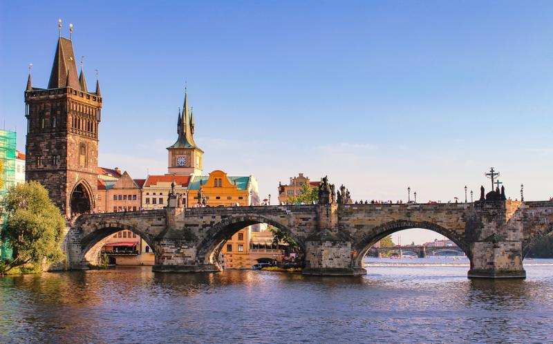 The Charles Bridge spanning the Moldau River in Prague