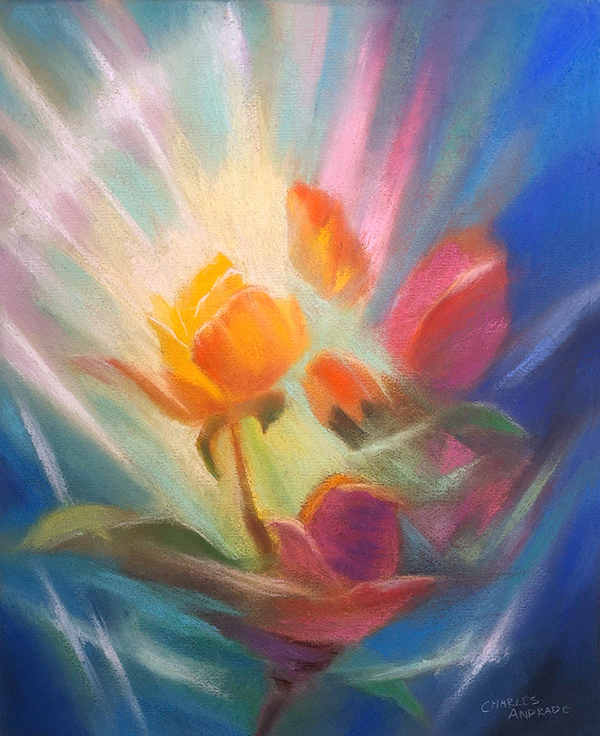 Healing Rose of Covid Pastel painting by Charles Andrade
